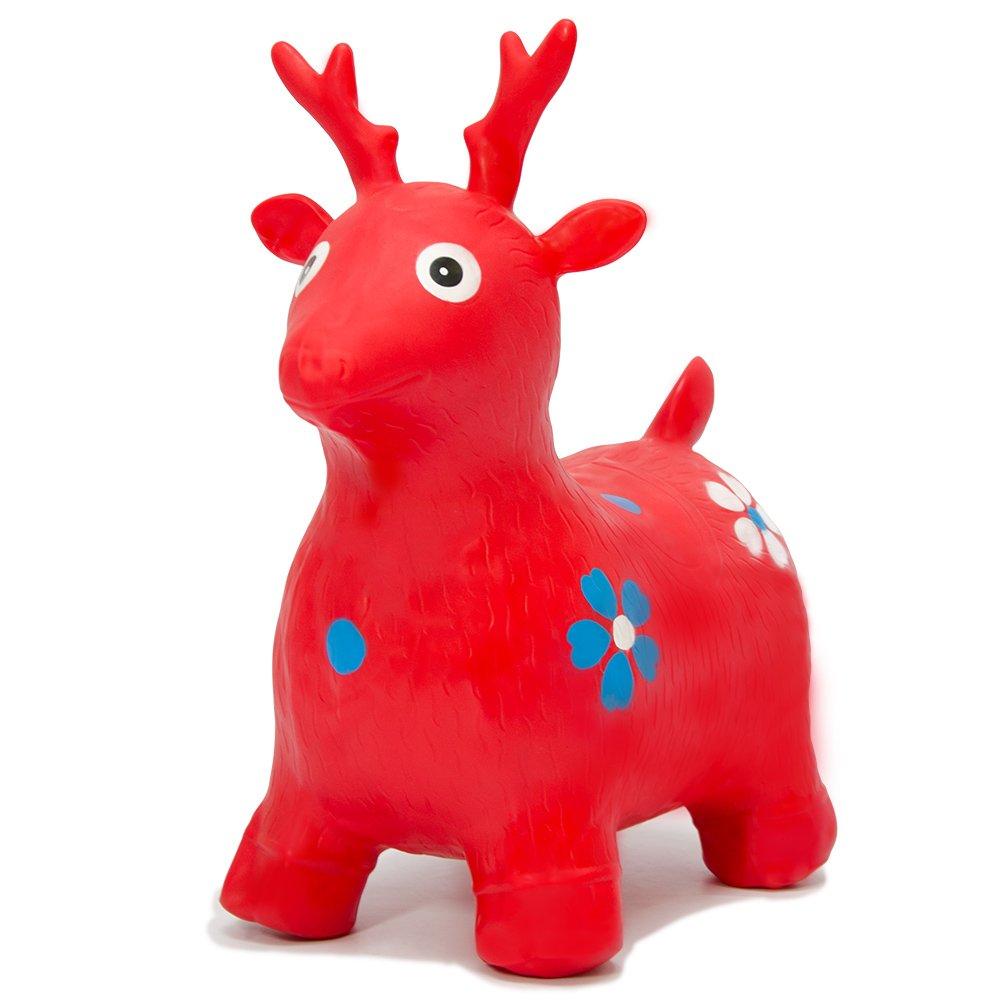 H/üpfspielzeug f/ür M/ädchen und Jungen Eyepower H/üpfdrache Rot H/üpftier H/üpfpferd Sprungpferd