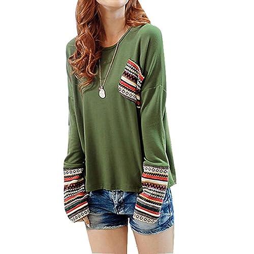OverDose De manga larga de cuello redondo camisa a cuadros blusa floja Tops