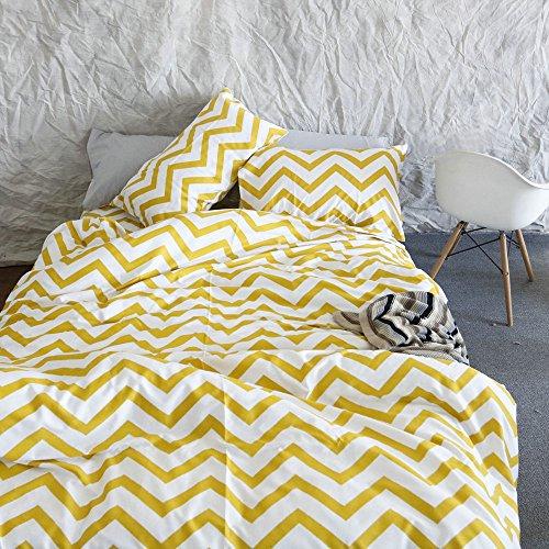 VM VOUGEMARKET Vougemarket Yellow and White Chevron Zig Zag Duvet Cover Set,100% Cotton 3-pieces Lightweight Bedroom Collection -King,Copenhagen Zig Zag Chart