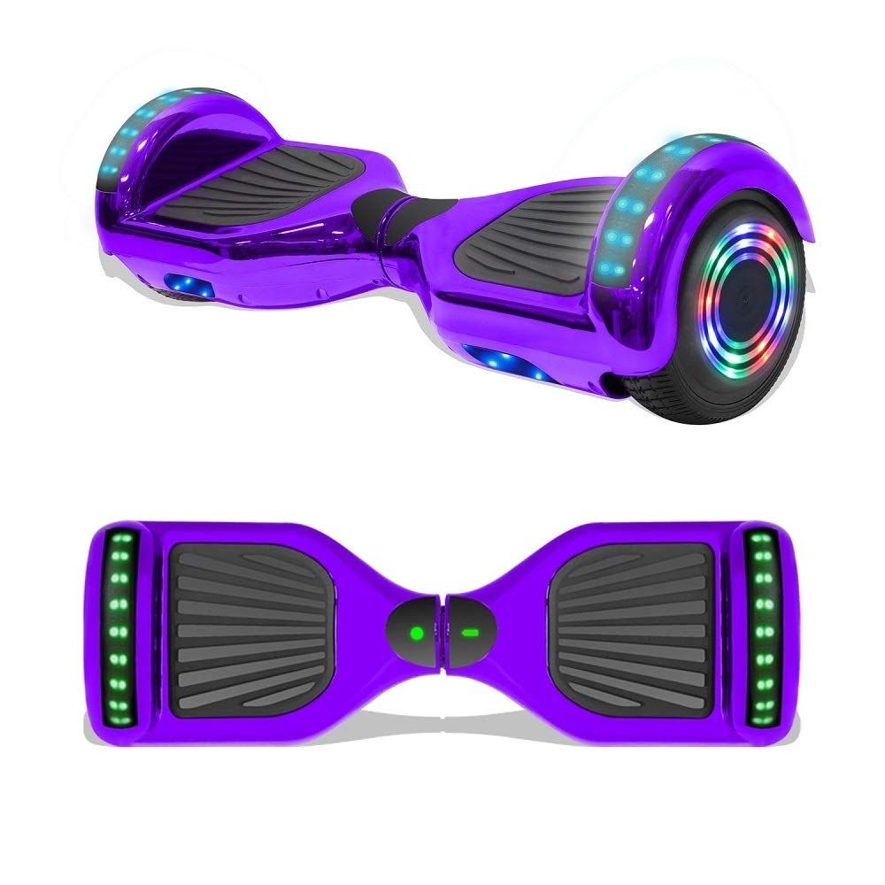 Longtime 6.5 Chrome Metallic Hoverboard Self Balancing Scooter with Speaker LED Lights Flashing Wheels Metallic Purple