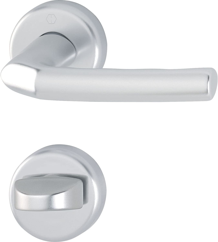 HOPPE picaporte Birmingham con soporte para cerradura WC rojo/blanco cristal, plata anodizada, 3176546