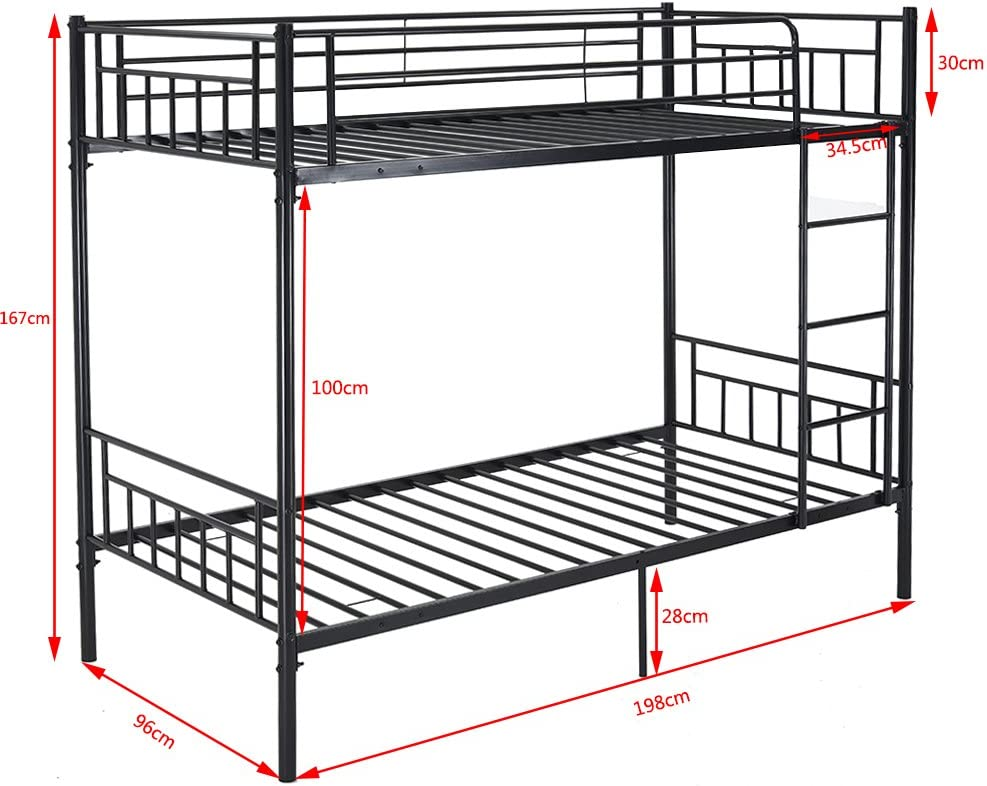 Panana 2 x 3FT Single Metal Bunk Bed 2 Persons Bed Frame Children Twins Bedroom Furniture (White Bunk Bed) White Bunk Bed