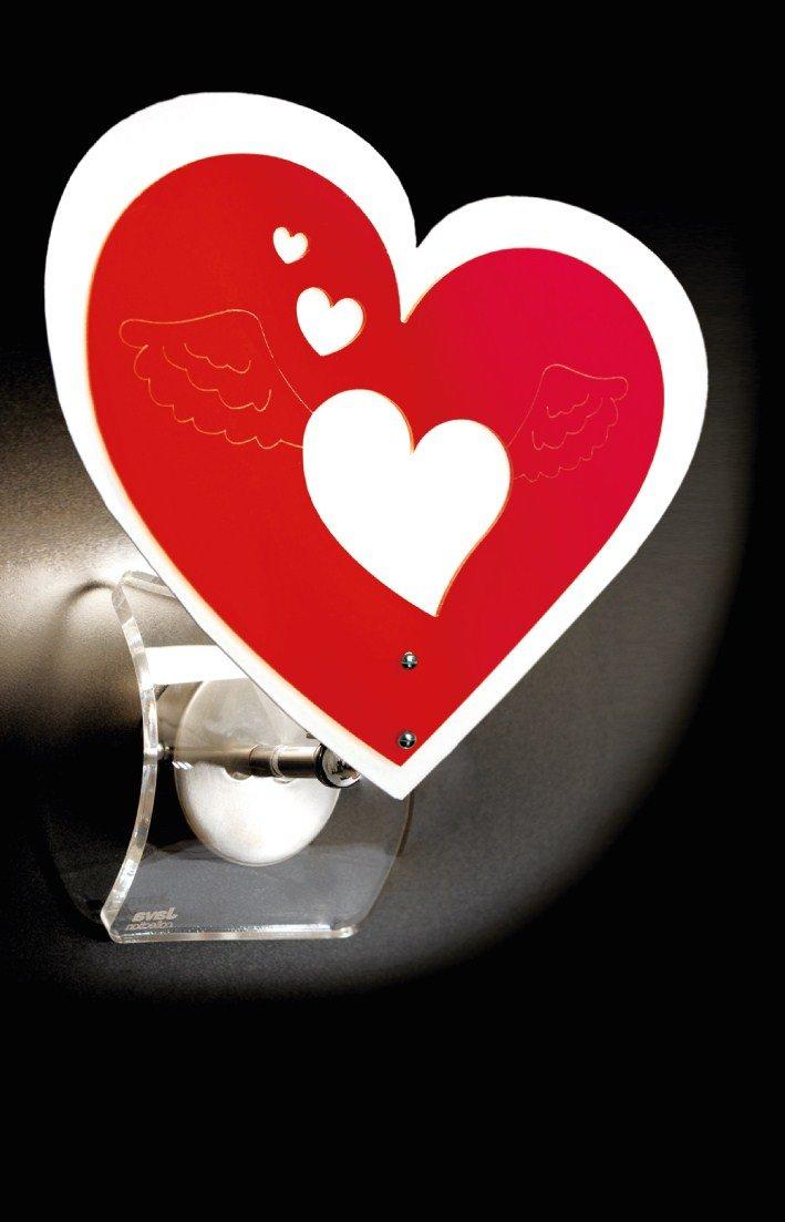 Lampadario in plexiglass da Parete - Applique Cuore Vari Colori- Camera - Cameretta - Bambini (FUCSIA) Shape Acrilic Design