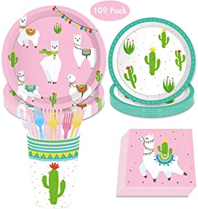DreamJ 109Pcs Alpaca Cactus Disposable Tableware Set, Llama Alpaca Party Supplies with Plates Cups Napkins Forks Straws for Boys,Girls,Baby Showers Birthday Party Favors Decorations (Severs 16)