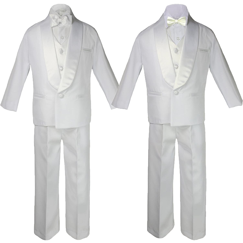 6pc Boy Baby Teen White Satin Shawl Lapel Suits Tuxedo Ivory Satin Bow tie Set