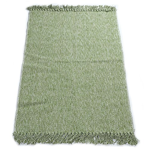 Fani Cotton Rugs Hand-Woven Braided Kitchen Mat Living Room Area Rug Green Floor Rug (24Inch×51Inch,Green)
