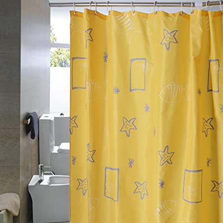 Cren Fabric Polyester Yellow Shower Curtain Liner 72 Inch By 12