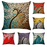 6 Pack Oil Painting Cotton Linen Throw Pillow Case Cushion Cover...