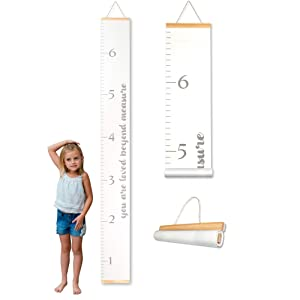 Morxy Growth Chart for Kids Unisex Kids Wall Room Decor Loved Beyond Measure White