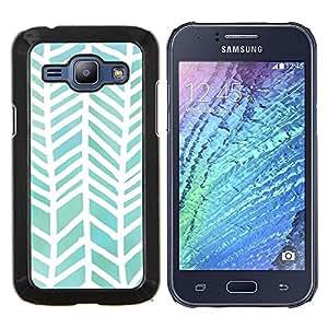 EJOOY---Cubierta de la caja de protección para la piel dura ** Samsung Galaxy J1 J100 ** --Patrón Acuarela Blanco Verde