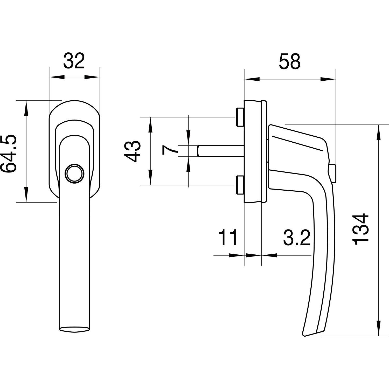 Sperrknopf pulverbe 1 St/ück,224261 MACO Fenstergriff Tresor wei/ß,224261