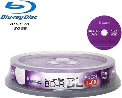 2-PK 50GB BD-R White Inkjet HUB Printable Dual Double Layer Blu-ray Blank Disc