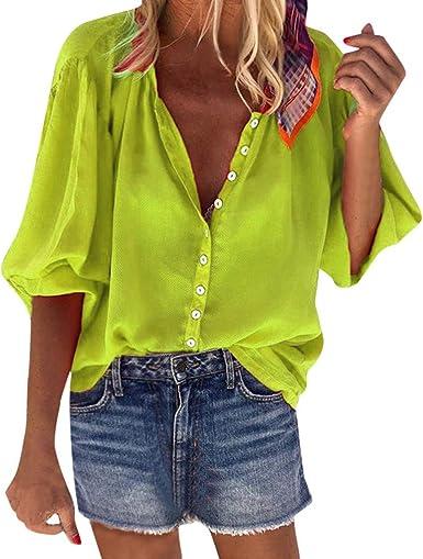 Camisa de Botones de Las Mujeres Blusa Casual con Cuello en v Manga Larga de Color Liso otoño Primavera camias Verde L: Amazon.es: Ropa y accesorios