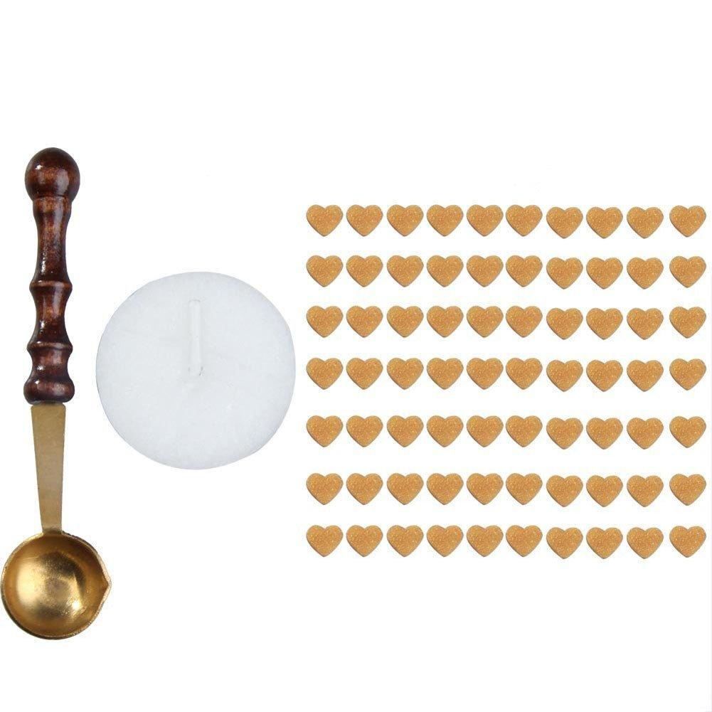 Hrph 70pezzi di ceralacca a forma di cuore per candele con mini cucchiaio di fusione. Gold AEQW-WER-AW128881