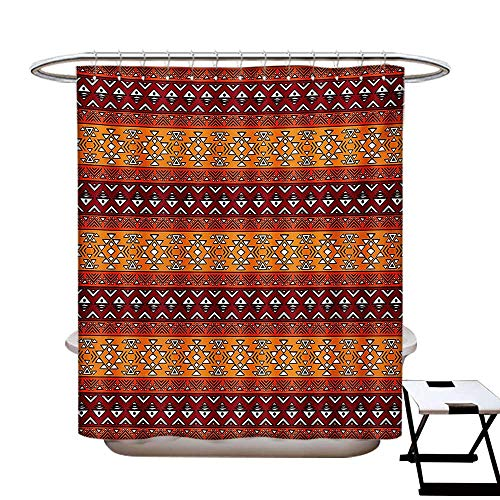 (Native American Shower Curtains Waterproof Maya Inspired Horizontal Esoteric Latin Inspired Geometric Pattern Print Fabric Bathroom Decor Set with Hooks W69 x L75 Ruby Apricot)
