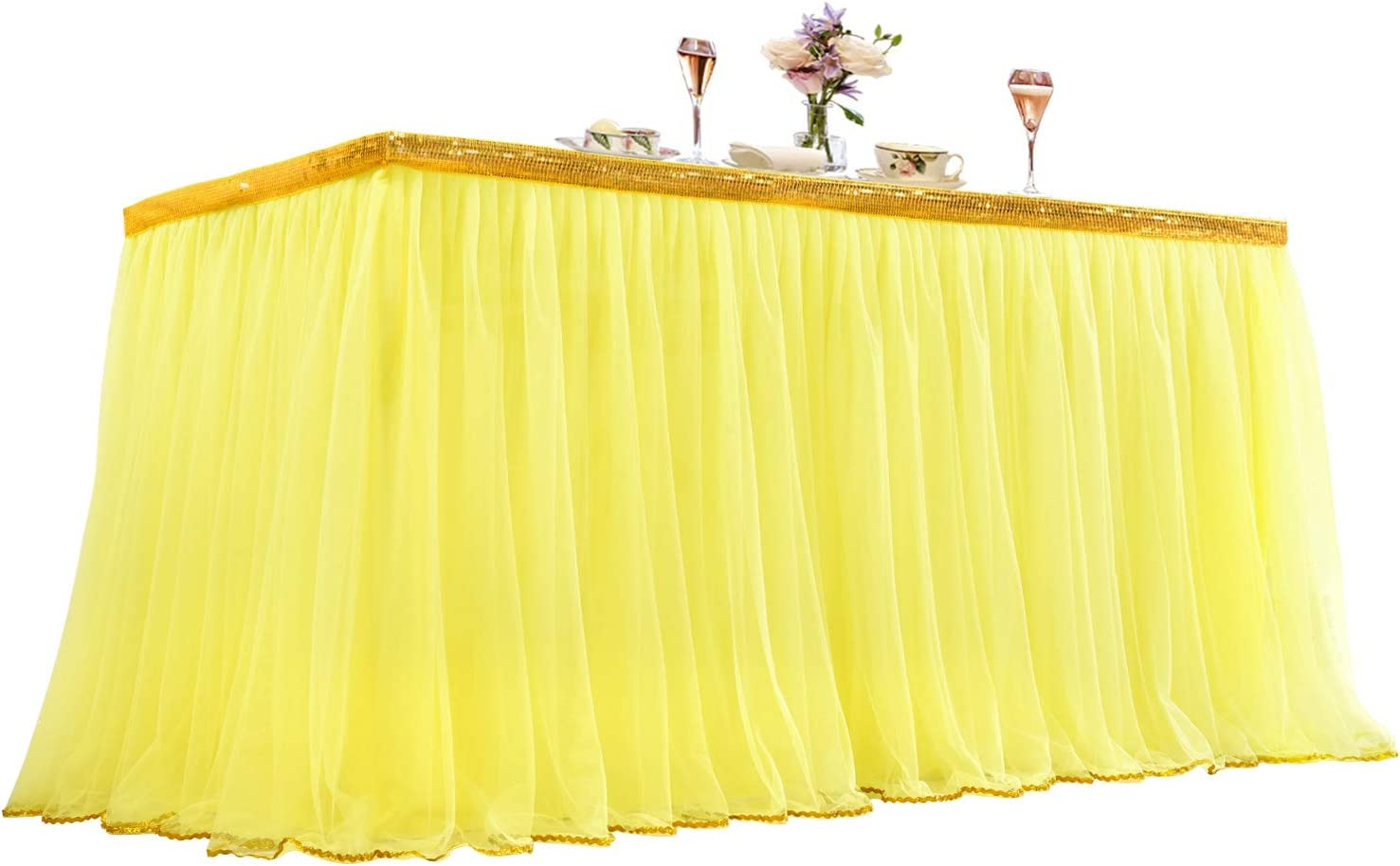 Yellow Tulle Table Skirt Tutu Table Cloths for Parties Baby Shower Birthday Rectangle Tables Decor 9ft