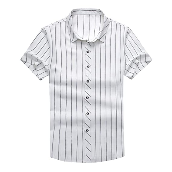 ff4d100d2fd CHLXI Stripe Short-Sleeved Shirt Male Youth Middle-Aged Business Casual  Slim Shirt Plaid Casual Thin Section  Amazon.co.uk  Clothing