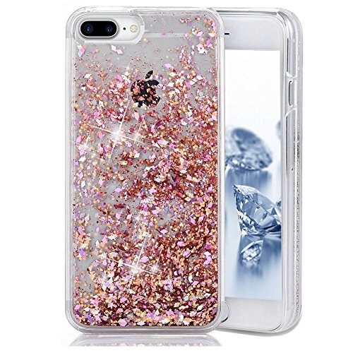 iPhone 7 Plus Case, iPhone 7 Plus Liquid Glitter Case, Asstar 3D Fashion Creative Design Flowing Floating Luxury Bling Glitter Sparkle Heart Clear Diamond Hard Case for iPhone 7 Plus (Rose gold)