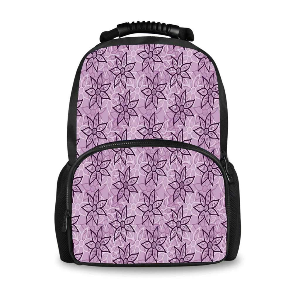 Purple Adorable School Bag,Macro Flowers Design with Glamour Leaves Spring Inspired Floral Charm Hand Drawn Style for Boys,12''L x 7''W x 17''H