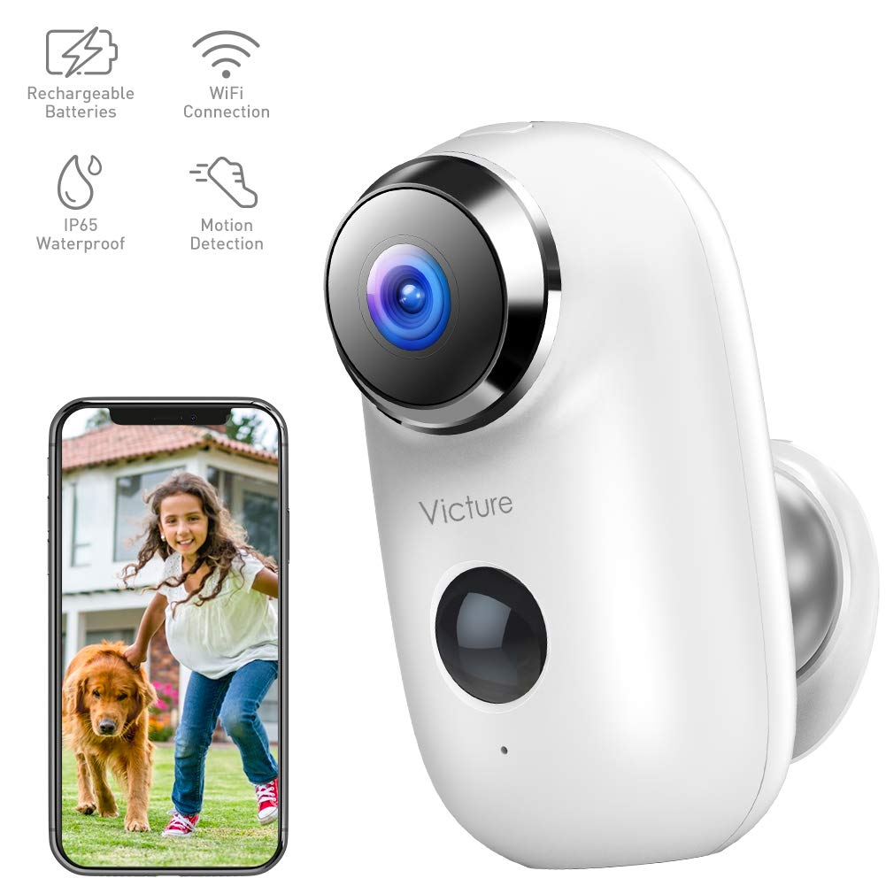 Victure 1080P Home Wireless Security Camera Outdoor Rechargeable Battery Powered Camera with 2-Way Audio PIR Motion Detection IP65 Waterproof and Night Vision by Victure