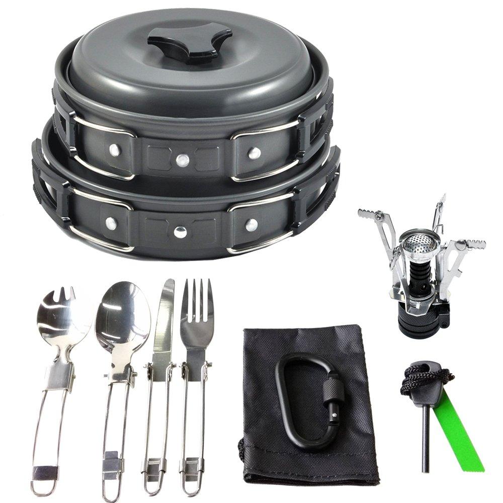 Amazon.com : 17Pcs Camping Cookware Mess Kit Backpacking Gear ...