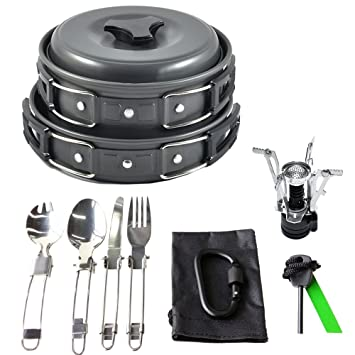 17Pcs Camping Cookware Mess Kit Backpacking Gear Hiking Outdoors Bug Out Bag Cooking Equipment Cookset