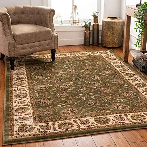 Well Woven Persian Oriental Area Rug Green 3×5 4×6 3 11 x 5 3