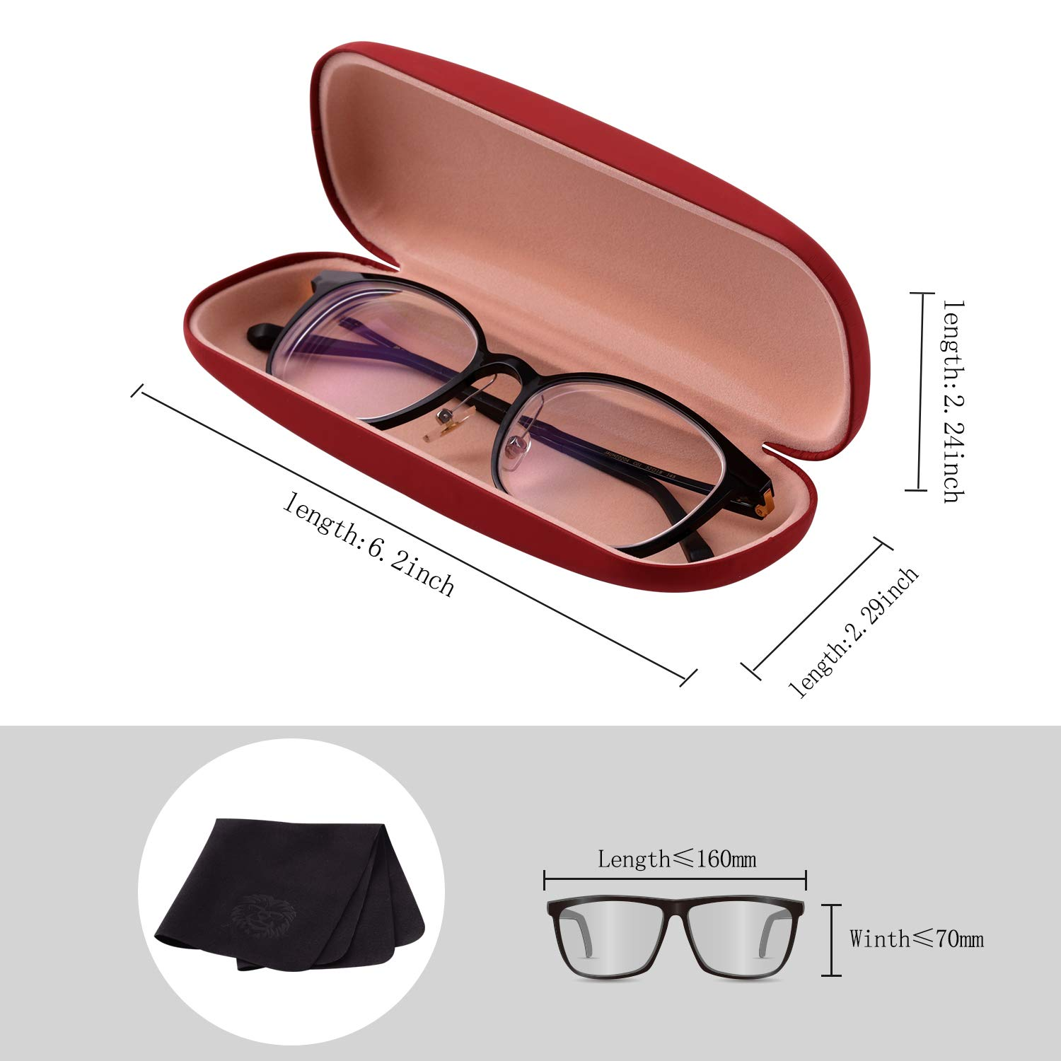 Hard Shell Eyeglasses Case,Smooth /& Glossy Finished Classic Protective Case for Reading Glasses