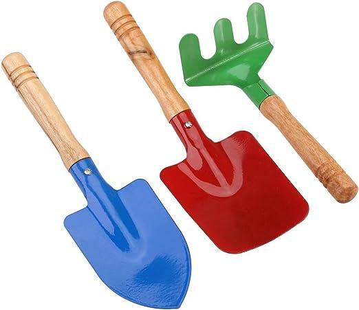 NYKKOLA - Juego de 3 herramientas de jardinería para niños, rastrillo y pala con mango de madera resistente para niños: Amazon.es: Jardín