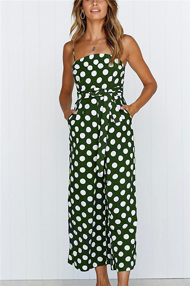 Miss Floral Womens Polkadot Wide Leg Cropped Jumpsuit 4 Colour Size 6-16: Amazon.co.uk: Clothing