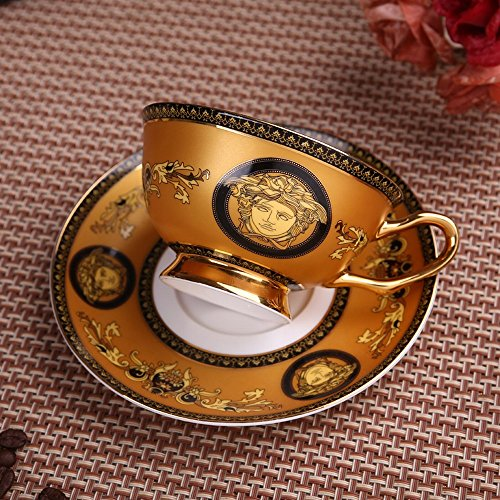 DHG High-End European Coffee Cup Small Luxury Gold Bone China English Afternoon Tea Tea Set Home Red Tea Cup,D by DHG