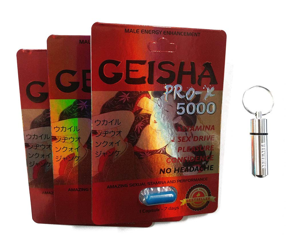 Male Enhancement Energy Booster Pills with Keychain, Geisha Pro (12 Pills)
