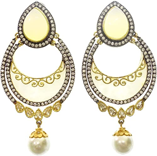 Amazon Com Fire Opal Mother Of Pearl And Simulated Pearl 22 Carat Gold Plated Fashion Drop Dangle Handmade Victorian Cubic Zircon Gemstone Unique Designer Earrings For Women By Artisan Jewelry