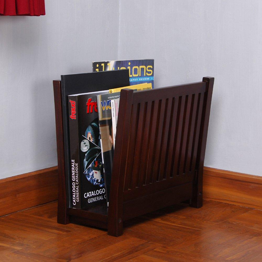 D-Art Collection Mahogany Finish Magazine Storage Rack holder Stand Furniture