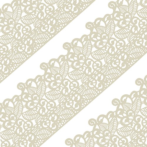 Funshowcase Large Pre-Made Ready to Use Edible Cake Lace Leaf Scroll Ivory White 14-inch 10-piece (Sugar Lace)