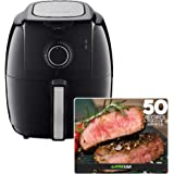 GoWISE USA 3.7-Quarts Electric Manual Air Fryer GW22922+ 50 Recipes for your Air Fryer Book (Black W/Dial)