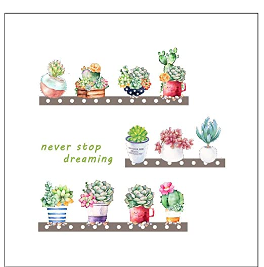 Tatuaje de pared% Suculentas Cactus Maceta flores de flores ...