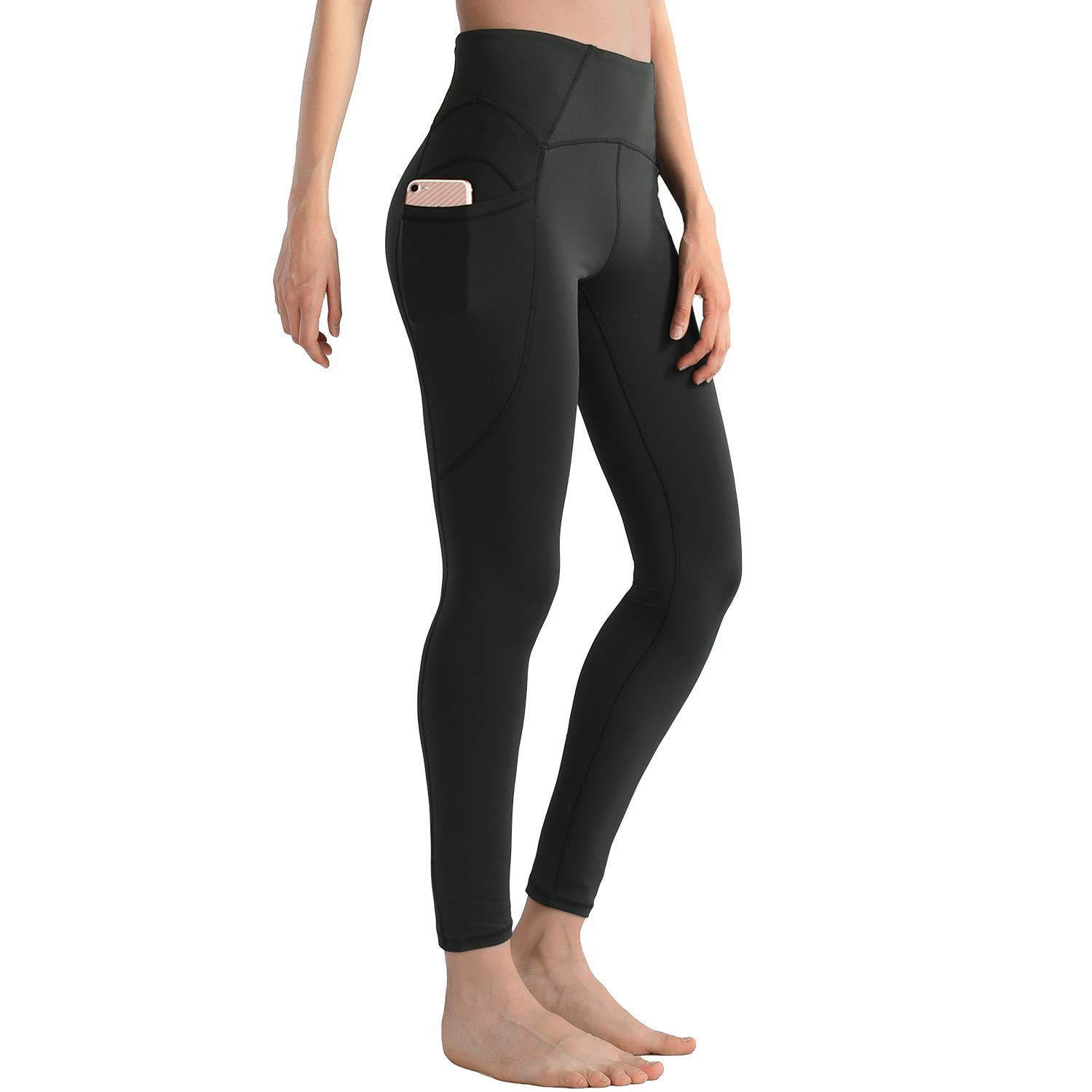 XDO High Waist Yoga Pants for Women with Pockets, Non See-Through Workout Sports Leggings 4 Way Stretch Tights(Black, Large)
