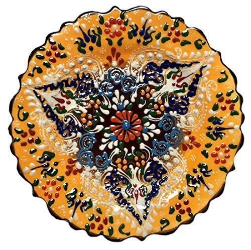 Nazar Turkish Imports ~Hand Painted Ceramic Plate-7 inch-yellow by Nazar Turkish Imports