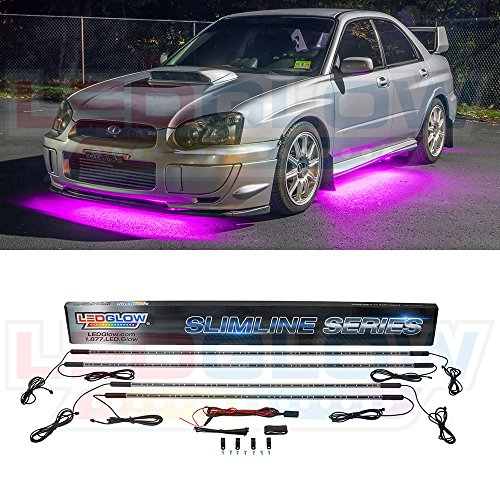 (LEDGlow 4pc Pink Slimline LED Underbody Underglow Car Light Kit - Water Resistant - Wide Angle SMD LEDs)
