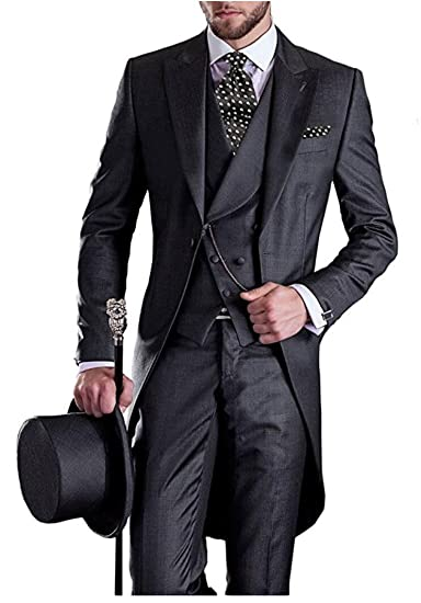 b321b0ddceb Men s Charcoal 3PC Long Tailcoat Suit Notch Lapel One Button Wedding Suits  Groom Tuxedos Charcoal 34