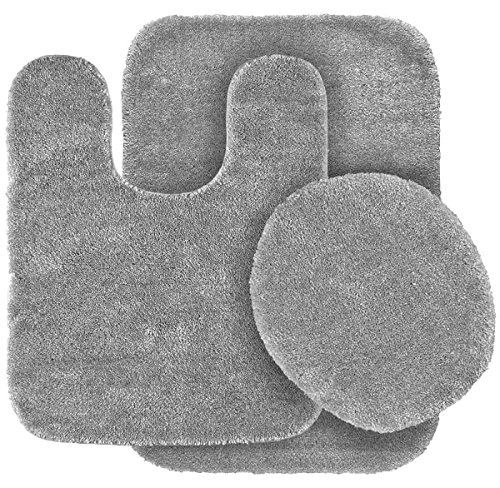 MB Collection 3 Piece Bathroom Rug Set Bath Rug, Contour Mat, & Lid Cover Non-Slip With Rubber Backing Solid Color # 6 (Silver / Gray) ()