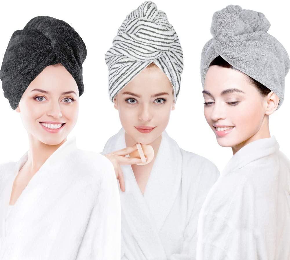 3 Pack Hair Towel Wrap for Women, Ultra Soft Hair Drying Towels, Anti-Frizz & Super Absorbent Hair Turban, Suitable for Curly, Long & Thick Hair (Gray&Dark Gray&Stripe): Kitchen & Dining