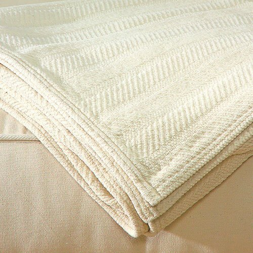 """Chenille Ivory Fabric - LIFEKIND Certified Organic Chenille Throw Blanket - Ivory (46x62"""")"""