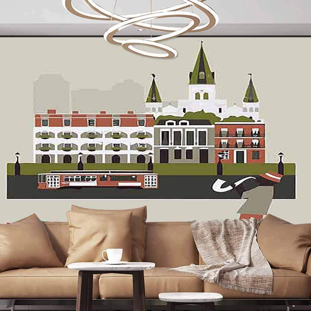 Albert Lindsay Backdrop Wallpaper Mural New Orleans Wallpaper Photoposter,152X108 inches/386x275 cm,for Livingroom Bedroom Nursery School Family Wall Decals