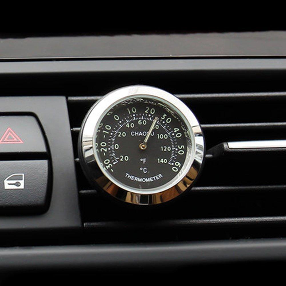 Black Txian Mini Car Thermometer Air Vent Classic Car Temperature Gauge 38x38x17mm