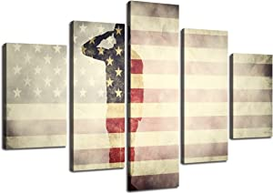"""Yatsen Bridge USA Wall Pictures for Living Room American Flag Canvas Print Vintage Modern Painting US Framed Poster and Print Office Giclee Print Gallery Wrap Artwork Stretched Hooks (60"""" Wx40 H)"""