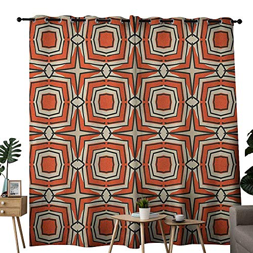 NUOMANAN Light Blocking Curtains Geometric,Squares and Rhombuses with Bullseye Pattern Abstract Warm Colored Shapes, Burnt Sienna Beige,for Bedroom, Kitchen, Living Room 120