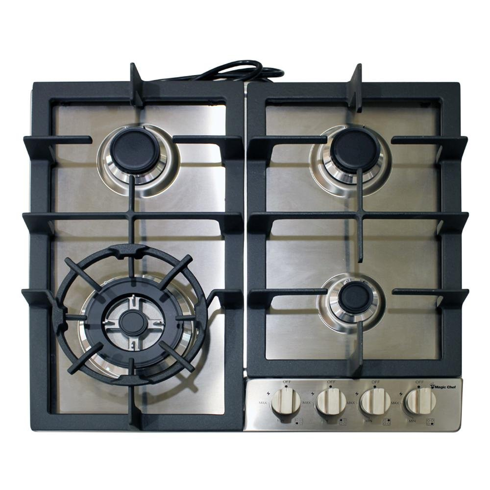 Magic Chef MCSCTG24S 24'' Gas Cooktop with 4 Burners, Stainless Steel