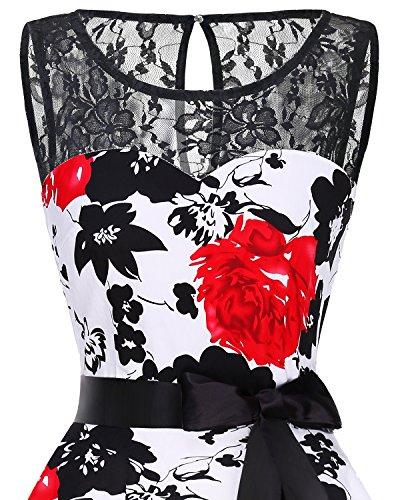 Fiesta Sin Mujer Boda Corto Mangas Red Encaje Flower Vestido Bbonlinedress TPxOw